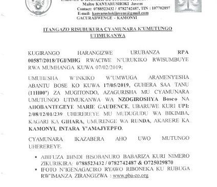 ITANGAZO RISUBUKURA CYAMUNARA  KU MUTUNGO UTIMUKANWA i Runda tariki ya 17/05/2019