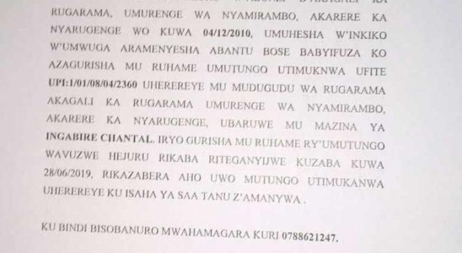 ITANGAZO RYO KUGURISHA MU RUHAME UMUTUNGO UTIMUKANWA  I NYAMIRAMBO KU WA 28/06/2019