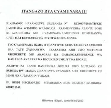 CYAMUNARA Y'UMUTUNGO UTIMUKANWA i GAHANGA TARIKI YA 13/02/2020