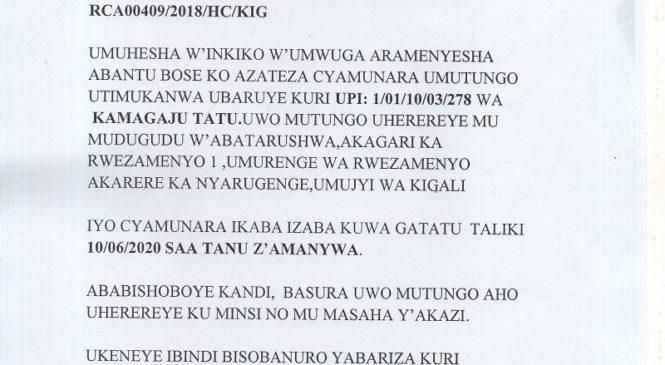 CYAMUNARA Y'UMUTUNGO UTIMUKANWA MU MURENGE WA RWEZAMENYO TARIKI YA 10/06/2020