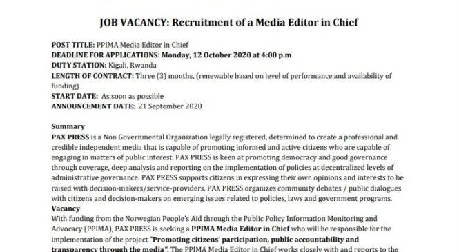 JOB VACANCY: Media Editor in Chief at PAX PRESS