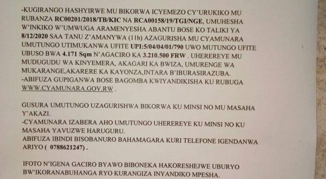 CYAMUNARA Y'UMUTUNGO UTIMUKANWA i Kayonza TARIKI YA 8/12/2020