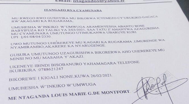 CYAMUNARA Y'UMUTUNGO UTIMUKANWA i Nyamirambo tariki ya 03/03/2021