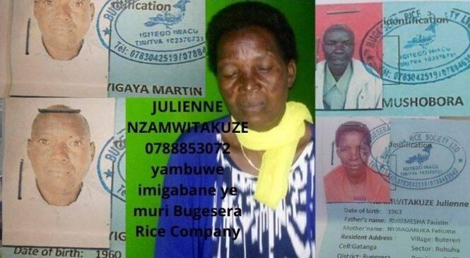 "Nzamwitakuze Julienne aratakambira Abayobozi Bakuru ku bwo kwamburwa imigabane ye n'abagabo ba ""Bugesera Rice Society Ltd"""